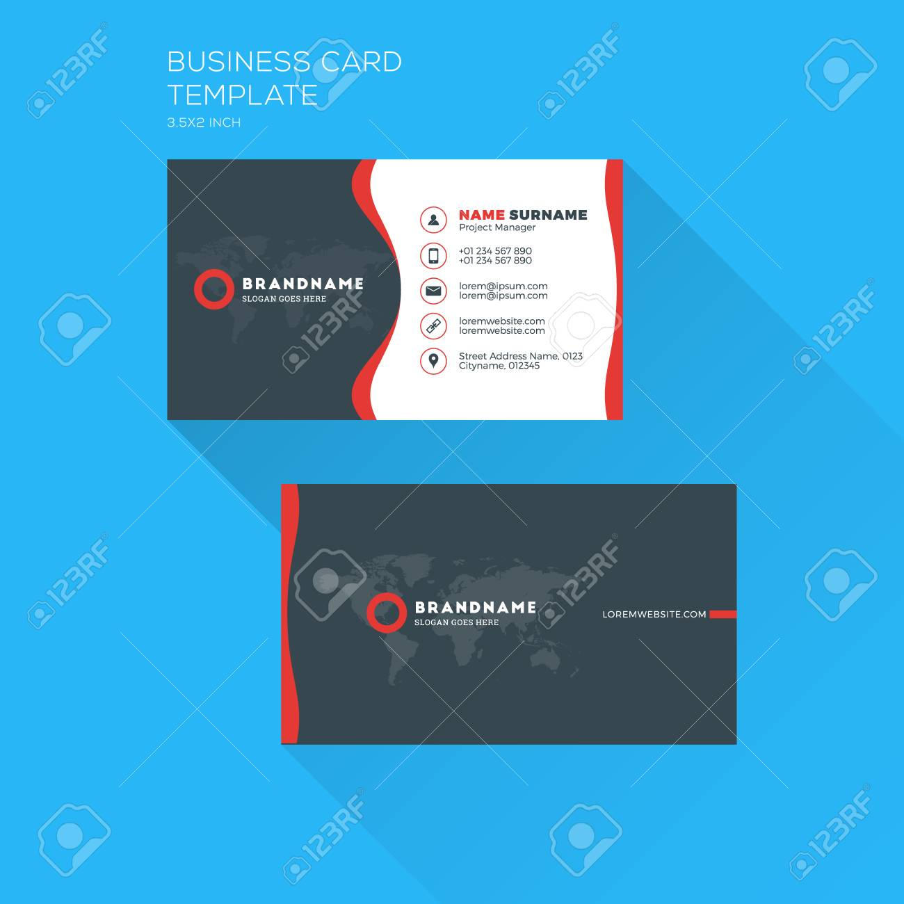 Corporate business card print template personal visiting card corporate business card print template personal visiting card with company clean flat design flashek Image collections