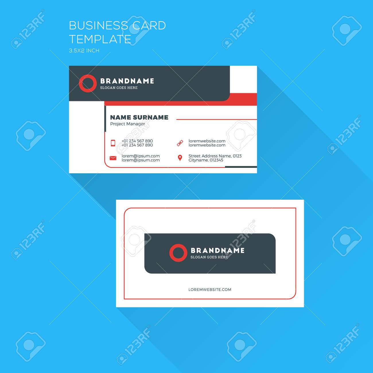 Corporate business card print template personal visiting card corporate business card print template personal visiting card with company clean flat design wajeb Image collections
