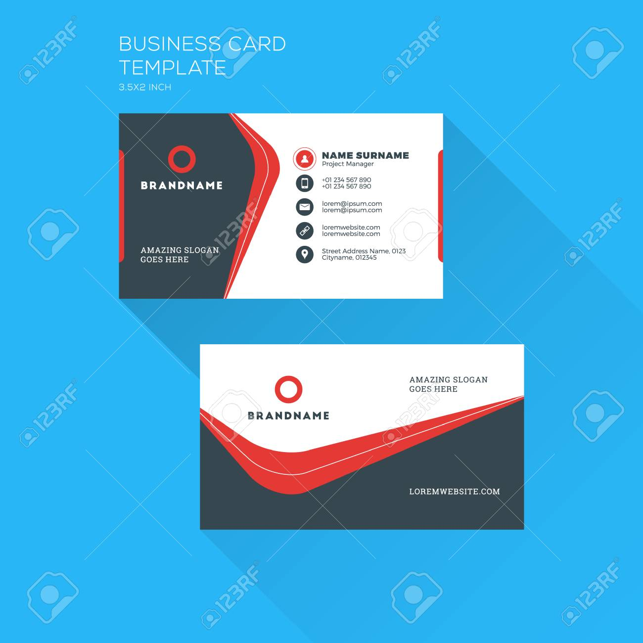 Corporate business card print template personal visiting card corporate business card print template personal visiting card with company clean flat design wajeb Gallery