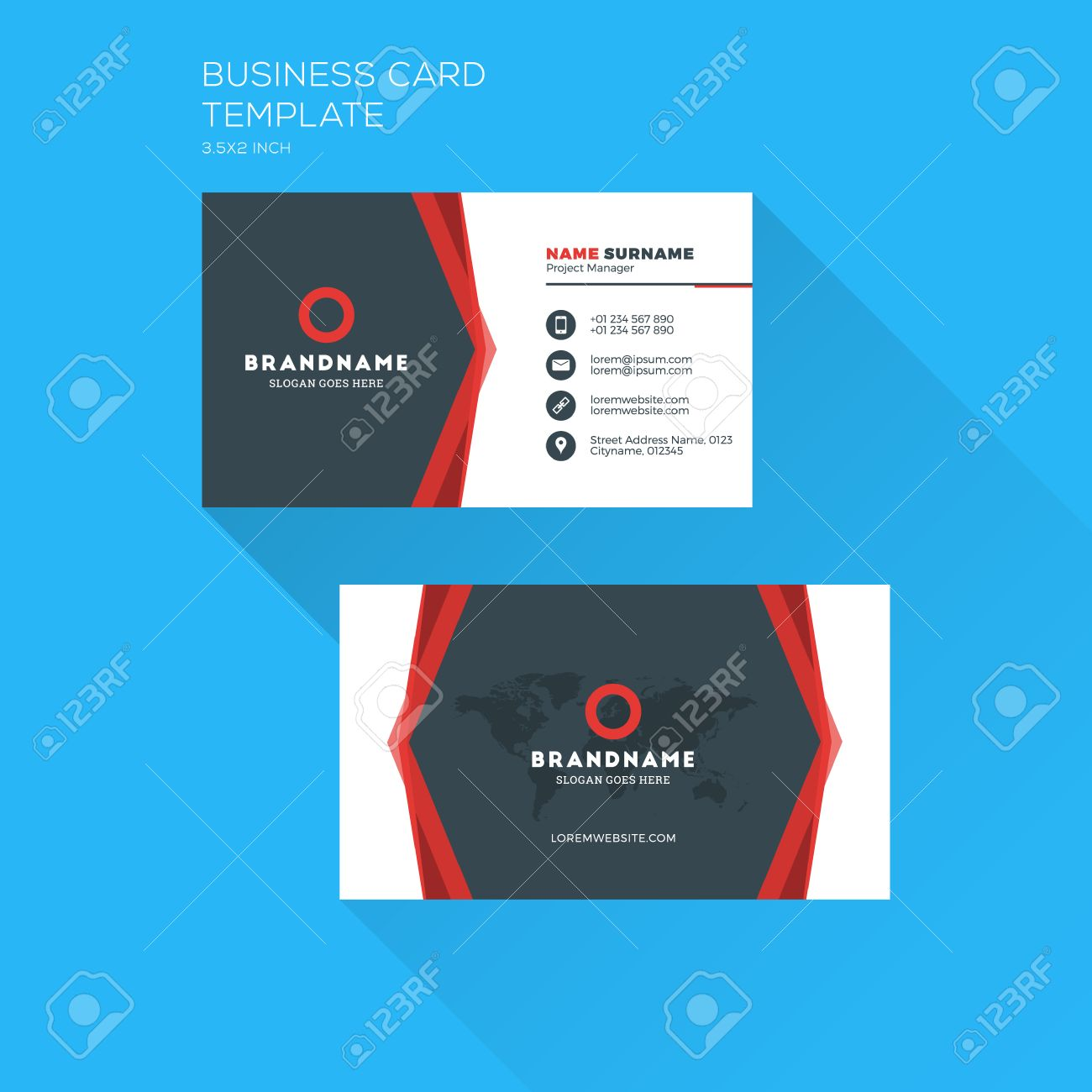 foto de archivo tarjeta de visita plantilla de impresin corporativa tarjeta de presentacin personal con la empresa diseo plana y limpia