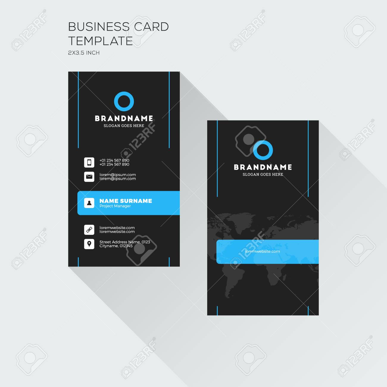 Vertical Business Card Print Template. Personal Visiting Card ...