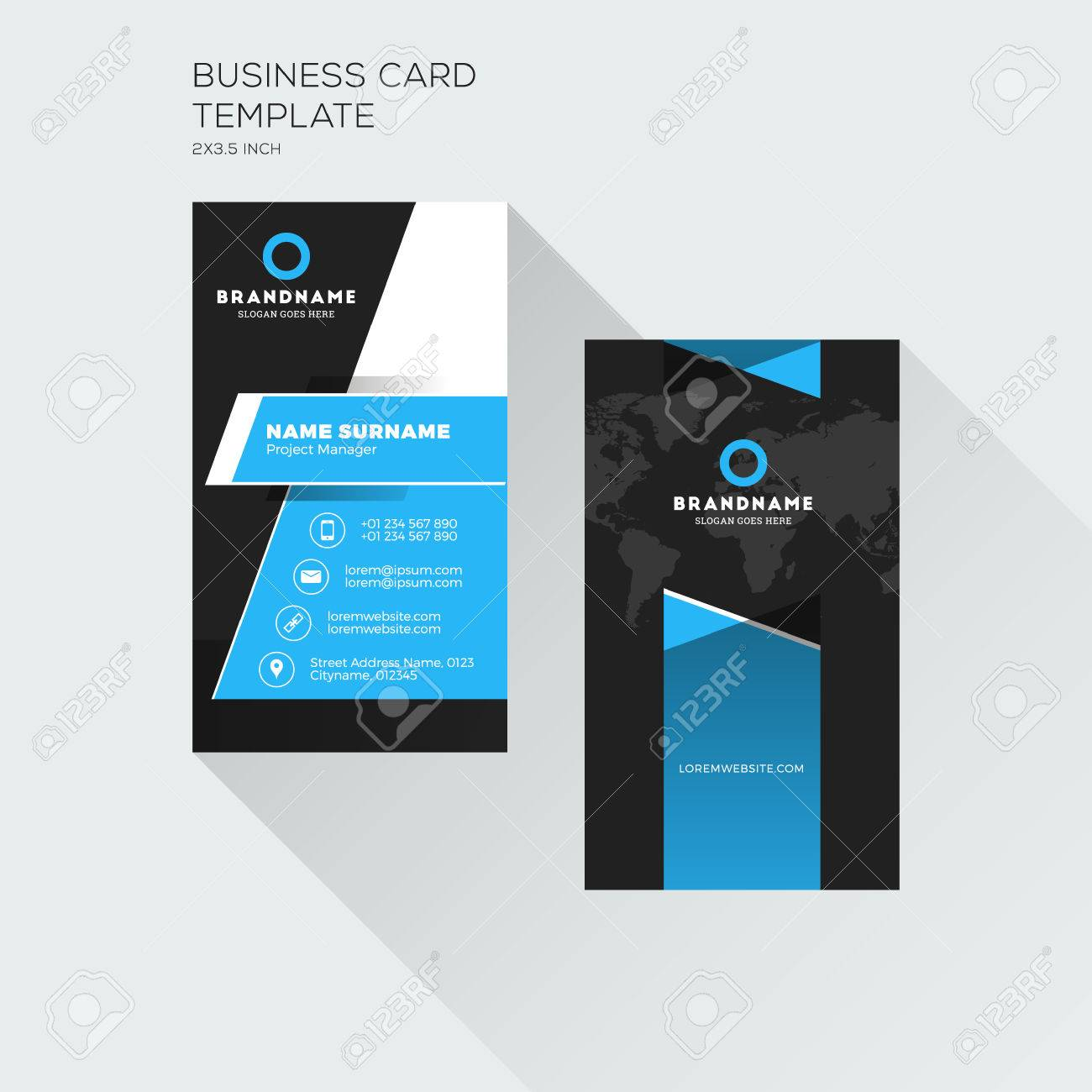 vertical business card print template personal visiting card black and blue colors clean