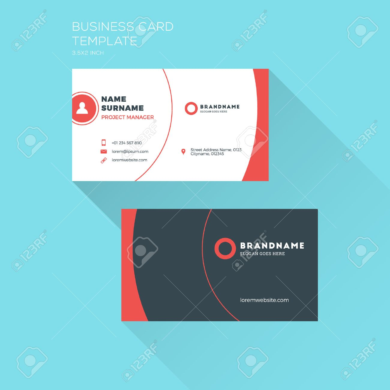 Corporate business card print template personal visiting card corporate business card print template personal visiting card with company clean flat design colourmoves