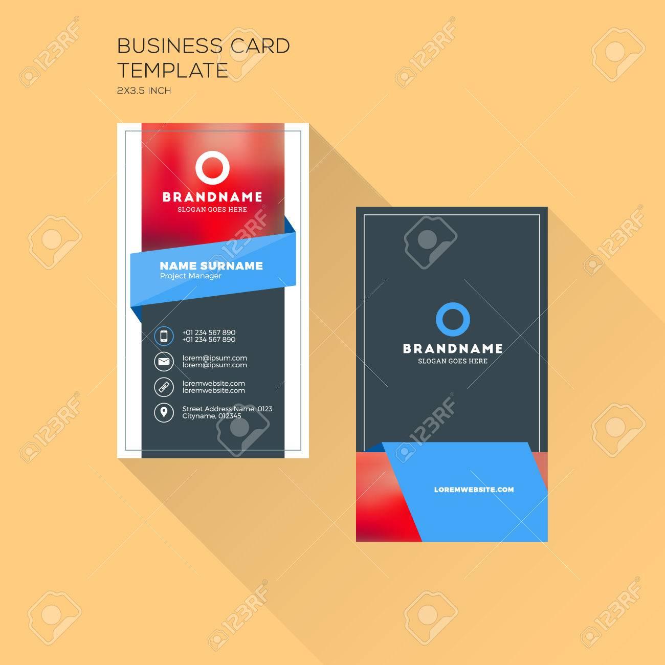 Vertikale Visitenkartendruckvorlage. Persönliche Visitenkarte Mit ...