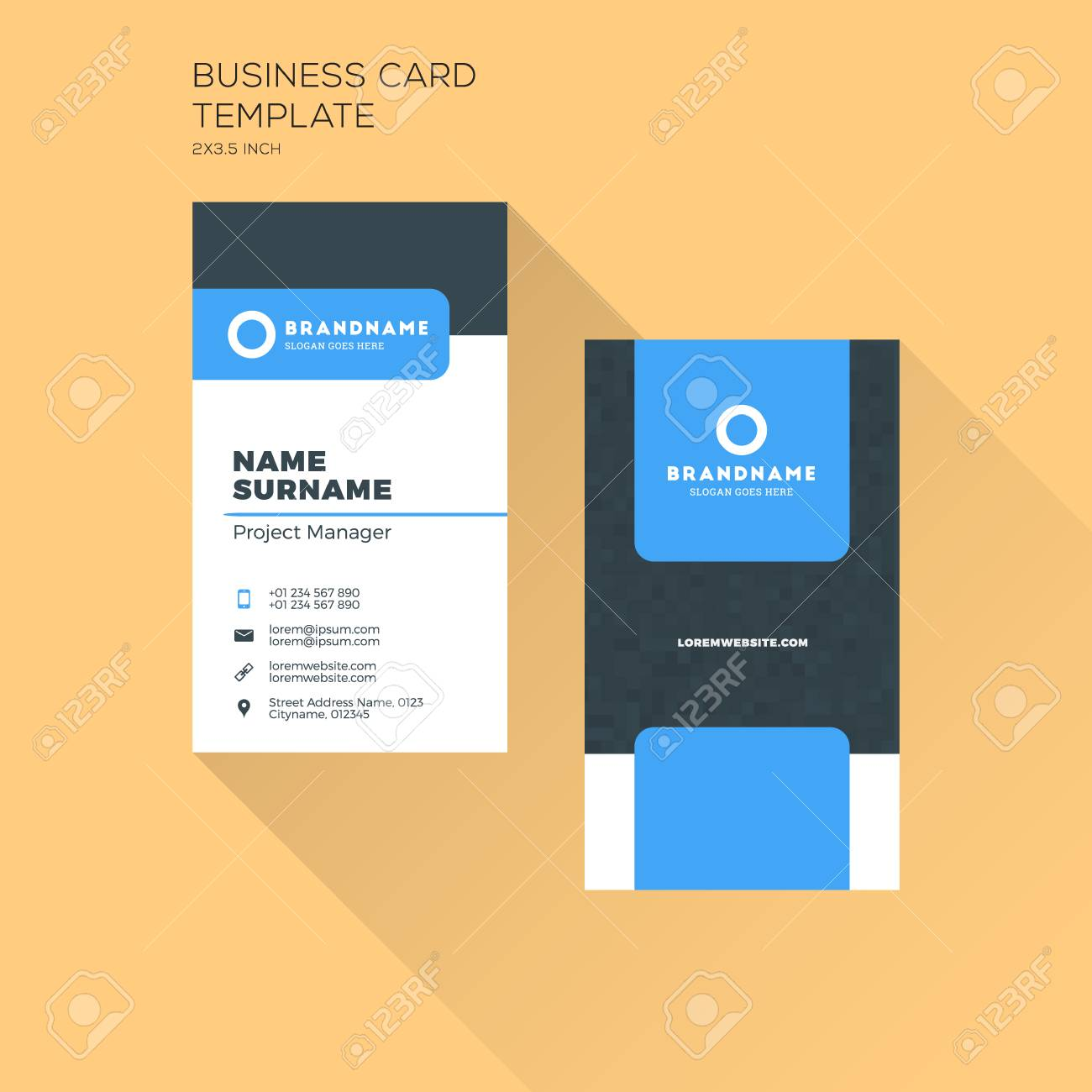 vector vertical business card print template personal business card with company black and blue colors clean flat design illustration - Business Card Printing Company