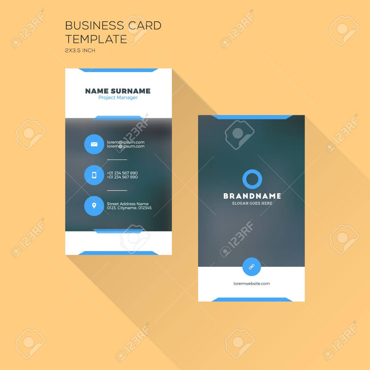 Vertical business card print template personal business card vector vertical business card print template personal business card with company black and blue colors clean flat design illustration cheaphphosting