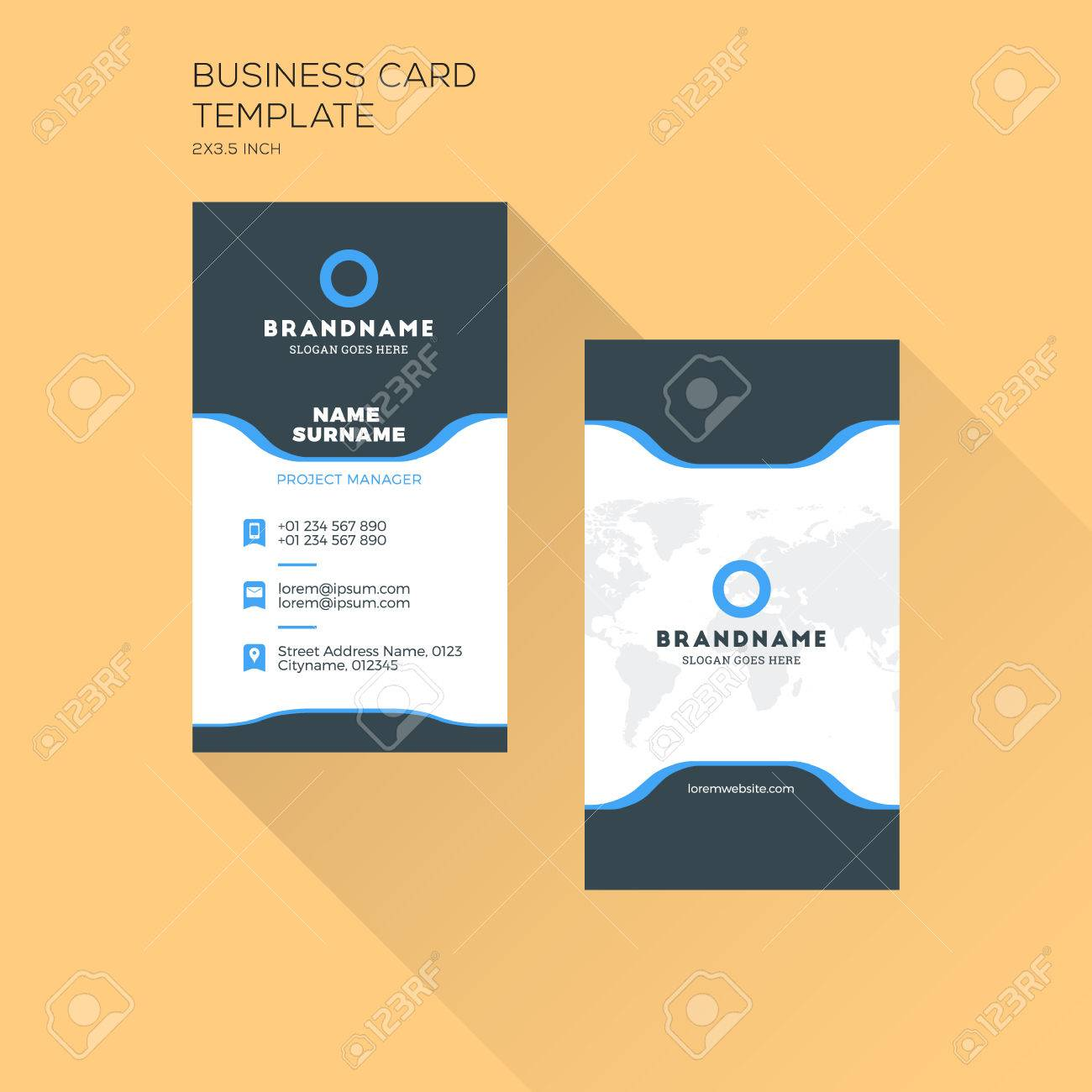 Vertical Business Card Print Template Personal Business Card
