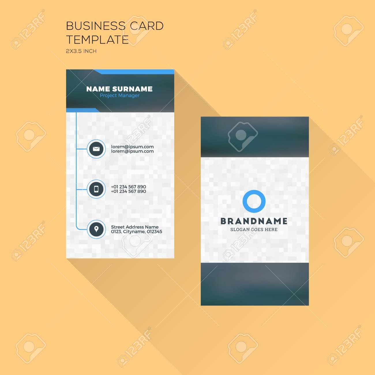 Vertikale Visitenkarte Druckvorlage. Persönliche Visitenkarte Mit ...