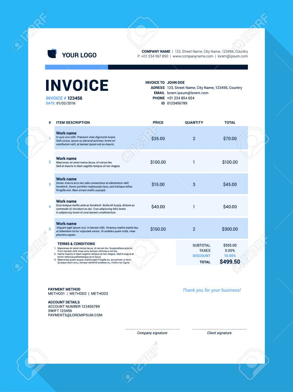 Customizable Invoice Form Template Design Illustration Royalty Free - Customizable invoice