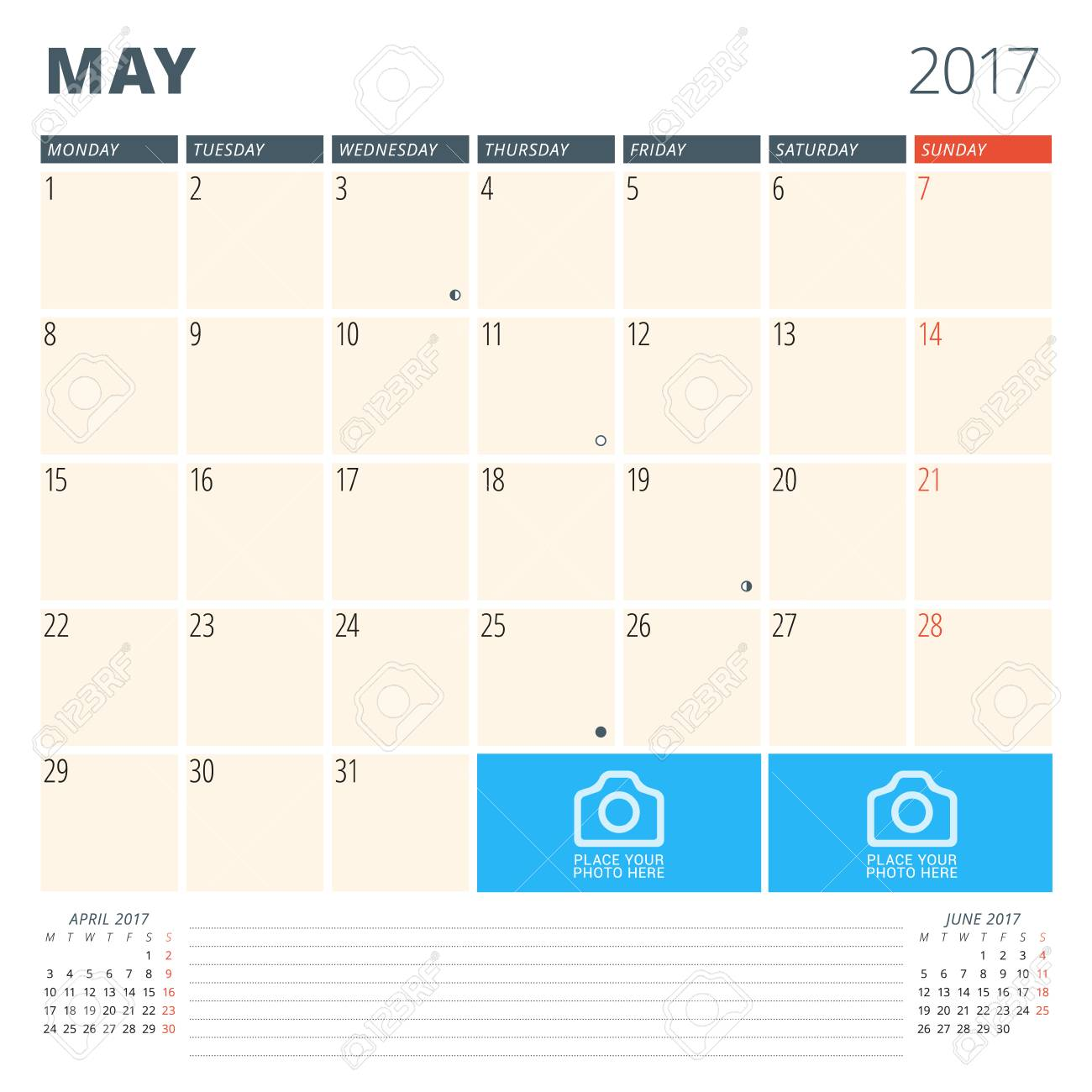 Calendario Con Note.Calendario Planner Per Il 2017 Anno Modello Di Disegno Con Posto Per Foto E Note Puo Settimana Inizia Lunedi