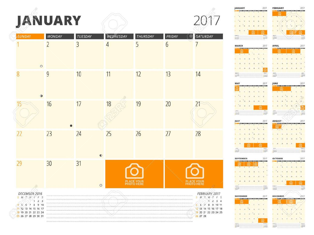 Planificador De Calendario Para 2017 Año. Plantilla De Diseño Con ...