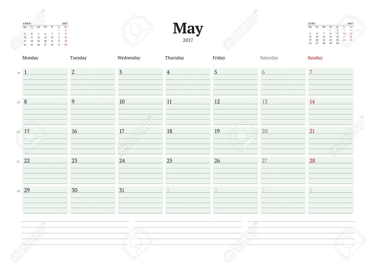 Contemporáneo Plantilla De Calendario De Una Página Composición ...