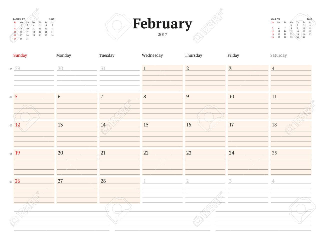 Kalendervorlage Für 2017 Jahr. Februar. Business Planner Vorlage ...
