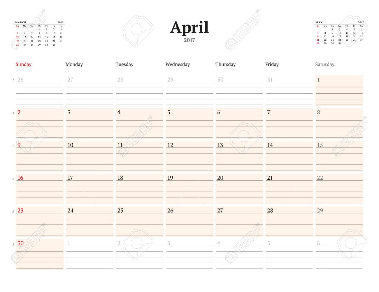 Kalendervorlage Für 2017 Jahr. April. Business Planner Vorlage ...