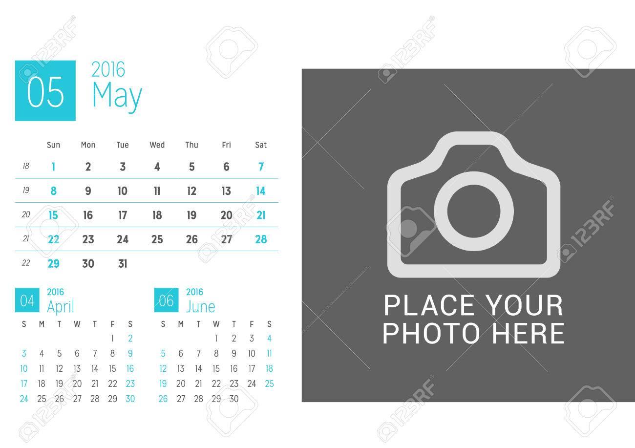 Kalendervorlage Für Den Monat Mai 2016. Woche Beginnt Sonntag ...