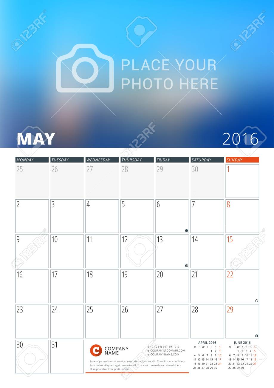 Kalendervorlage Für Den Monat Mai 2016. Woche Beginnt Am Montag ...