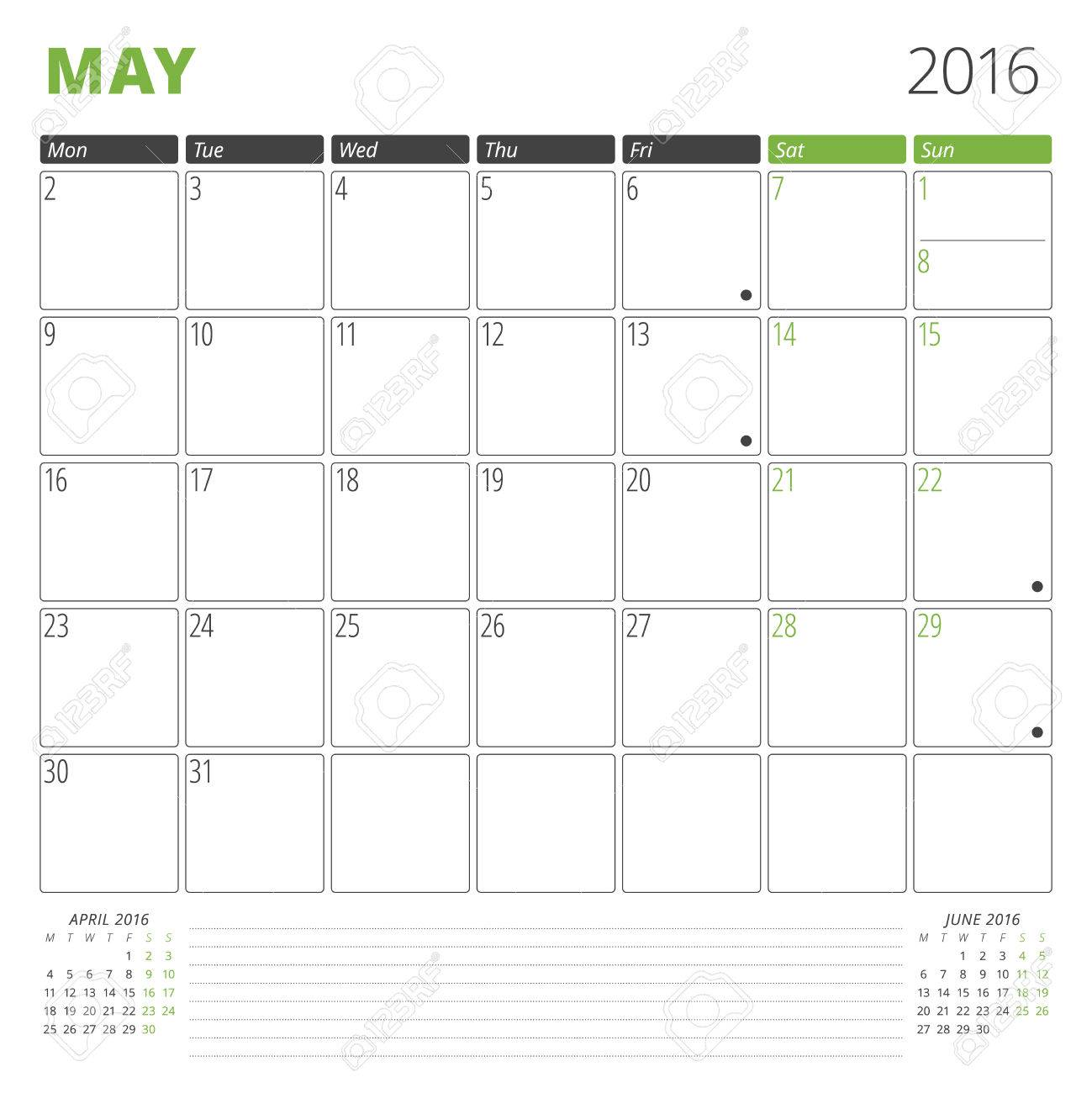 Calendar Template For May 2016 Week Starts Monday Planner Design Print Template Vector Calendar Stationery Design