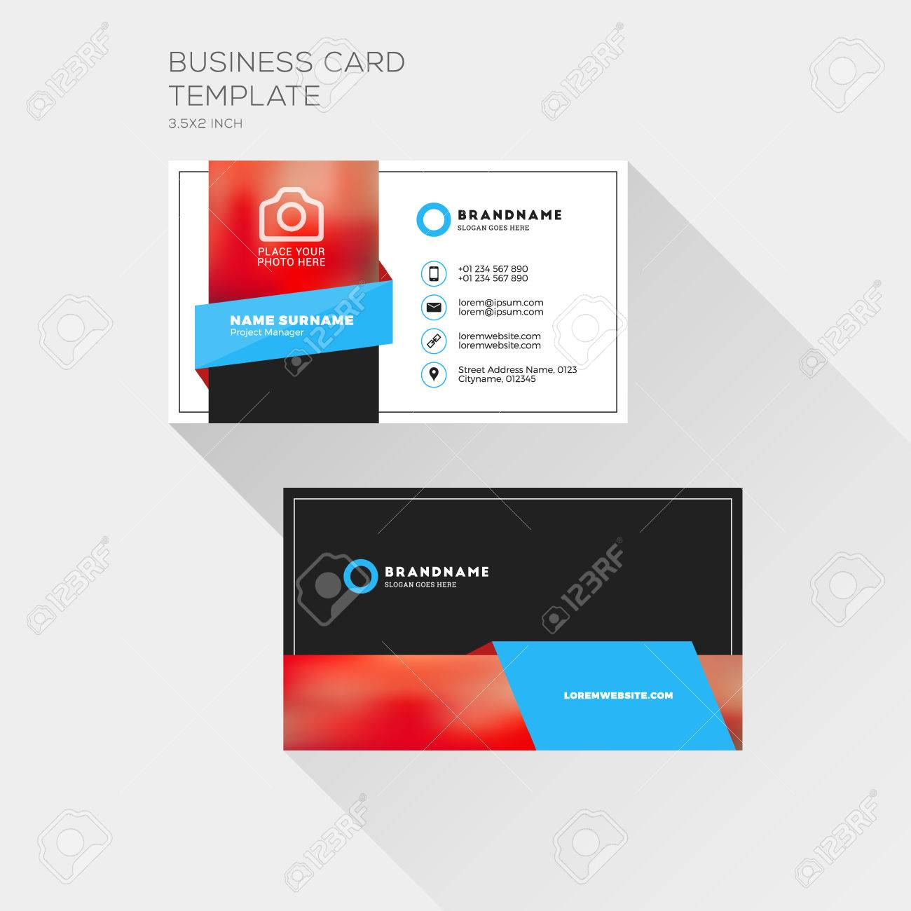 corporate business card print template personal visiting card with company logo clean flat design - Business Card Printing Company