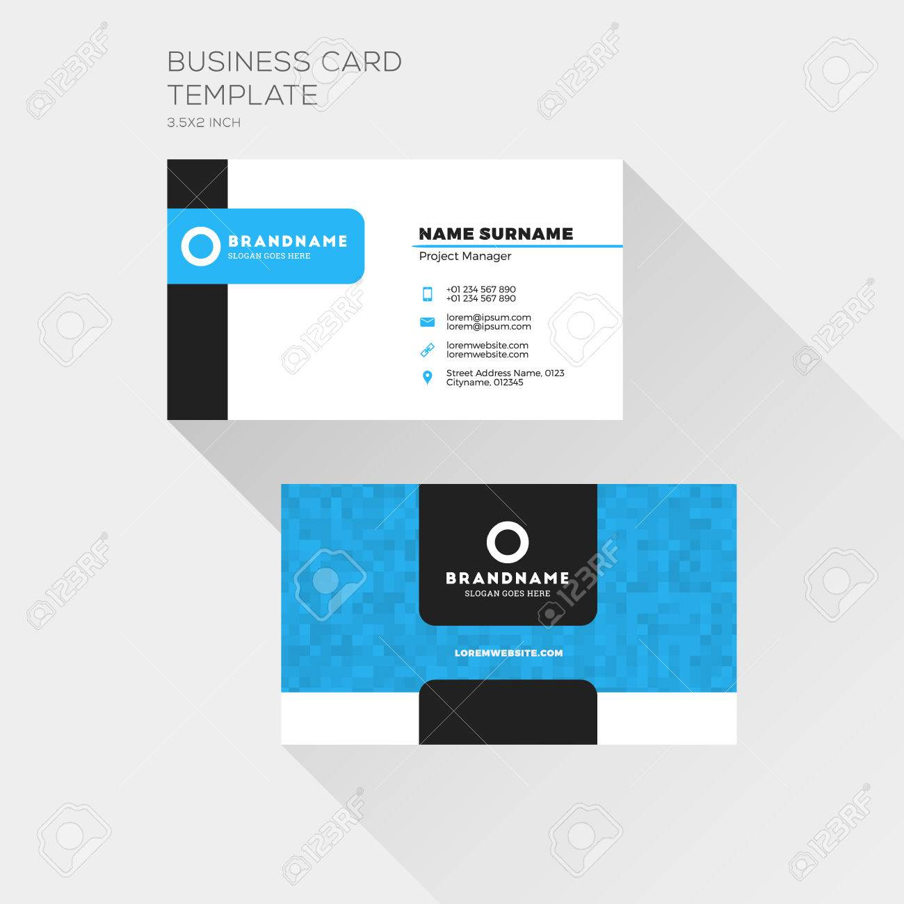 Corporate business card print template personal visiting card corporate business card print template personal visiting card with company logo clean flat design reheart Image collections