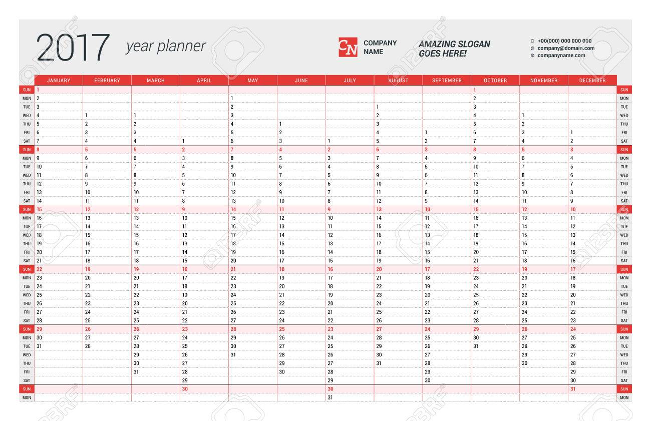Yearly Wall Calendar Planner Template For Year Vector Design - Yearly planner template