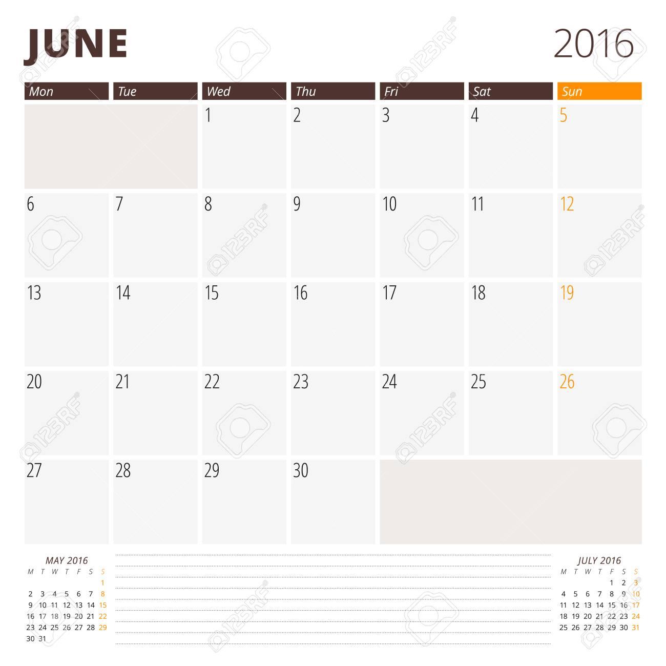 Plantilla Calendario De Junio De 2016. La Semana Comienza El Lunes ...