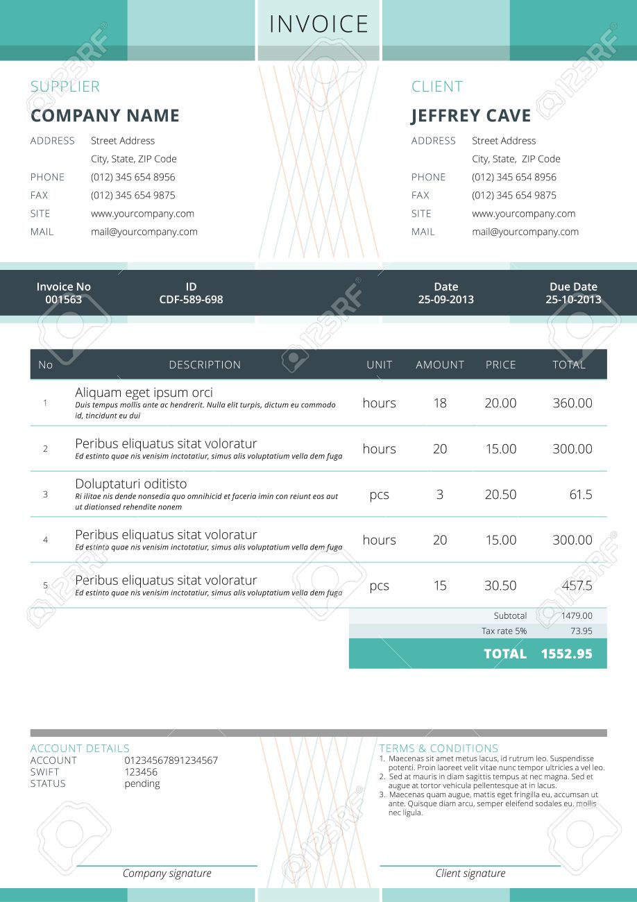 business invoice template. vector illustration. invoice form, Invoice examples