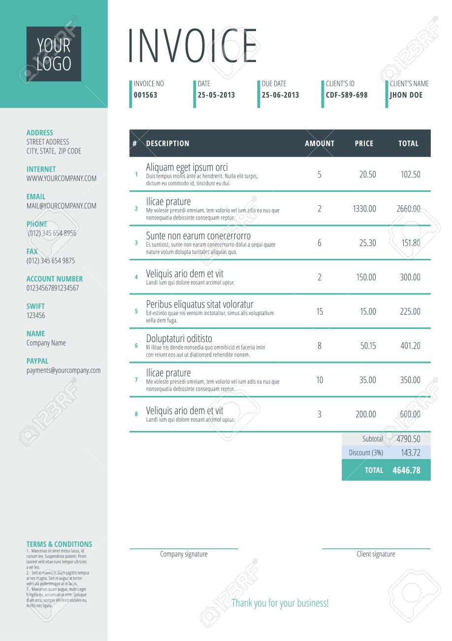 Business Invoice Template. Vector Illustration. Invoice Form ...