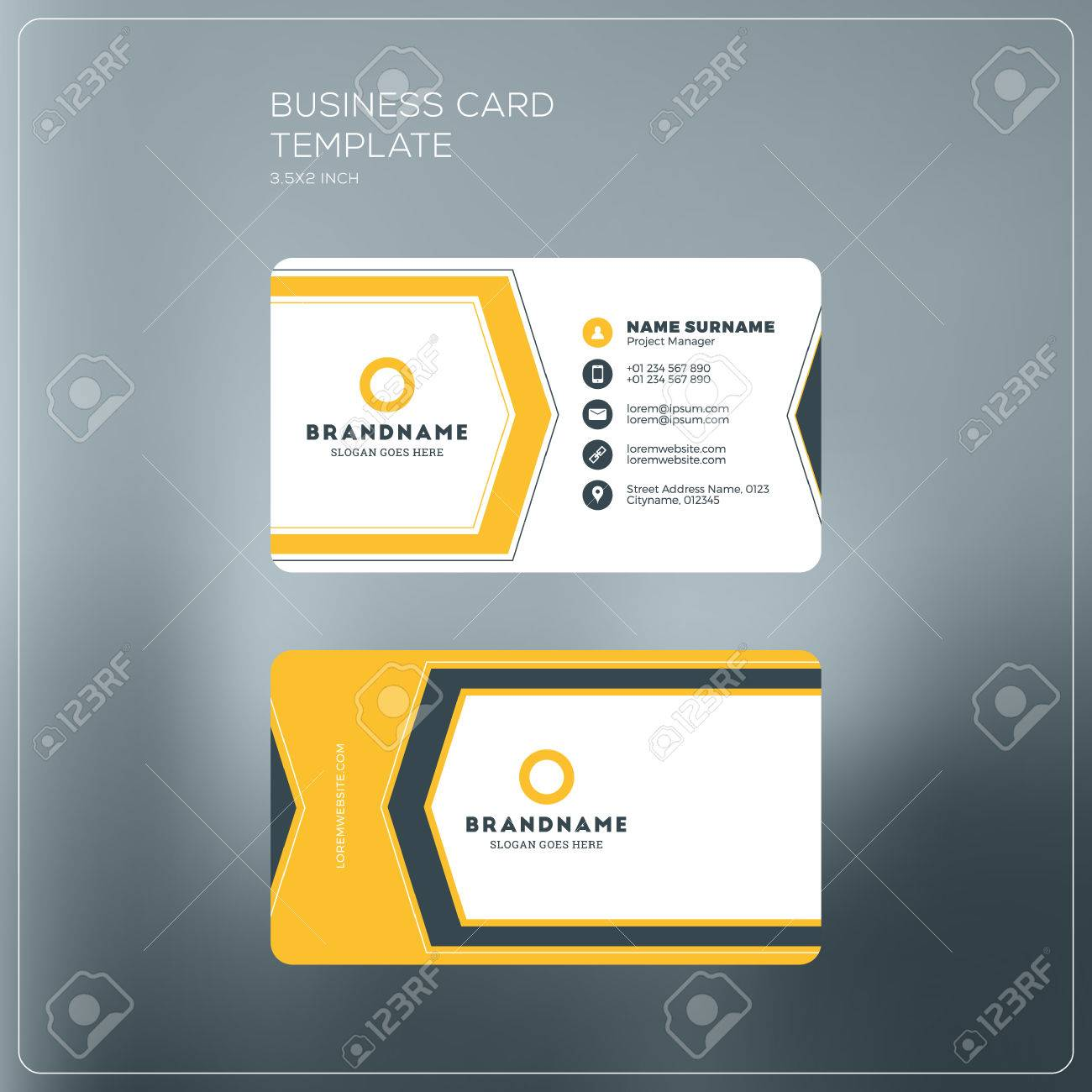 Corporate business card print template personal visiting card banco de imagens corporate business card print template personal visiting card black and yellow colors clean flat design vector illustration reheart Gallery