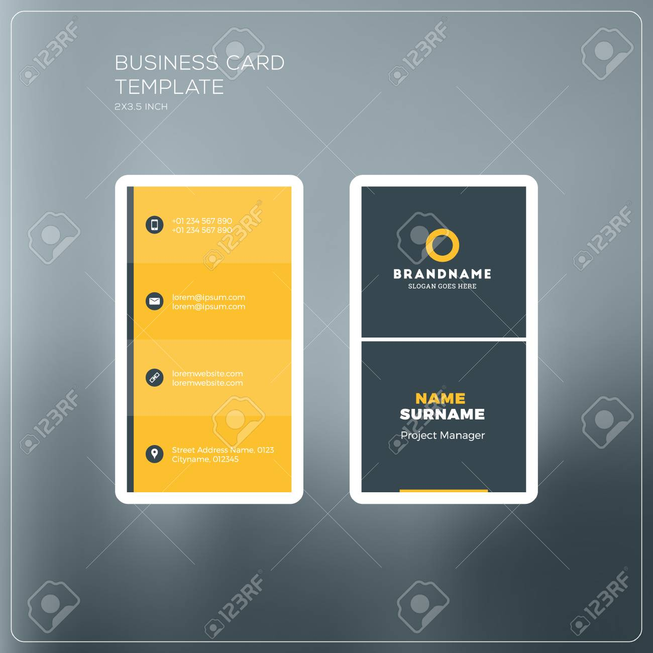 Vertical business card print template personal business card vector vertical business card print template personal business card with company logo black and yellow colors clean flat design vector illustration reheart Gallery
