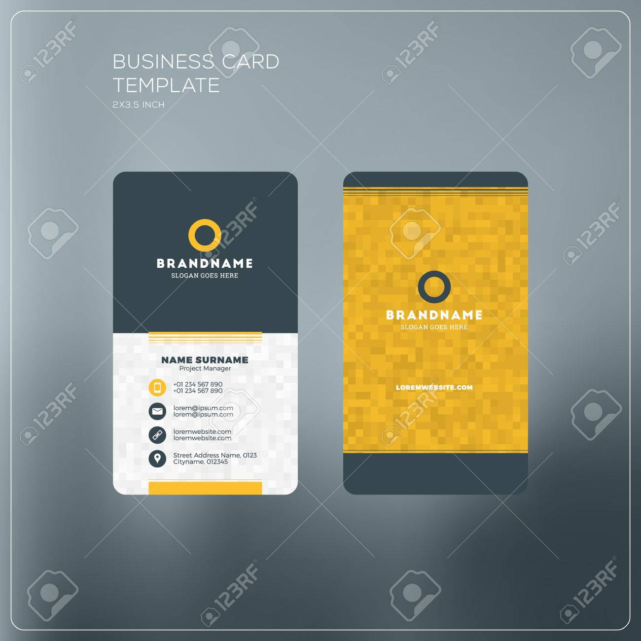 Vertical business card print template personal business card vector vertical business card print template personal business card with company logo black and yellow colors clean flat design vector illustration flashek Image collections