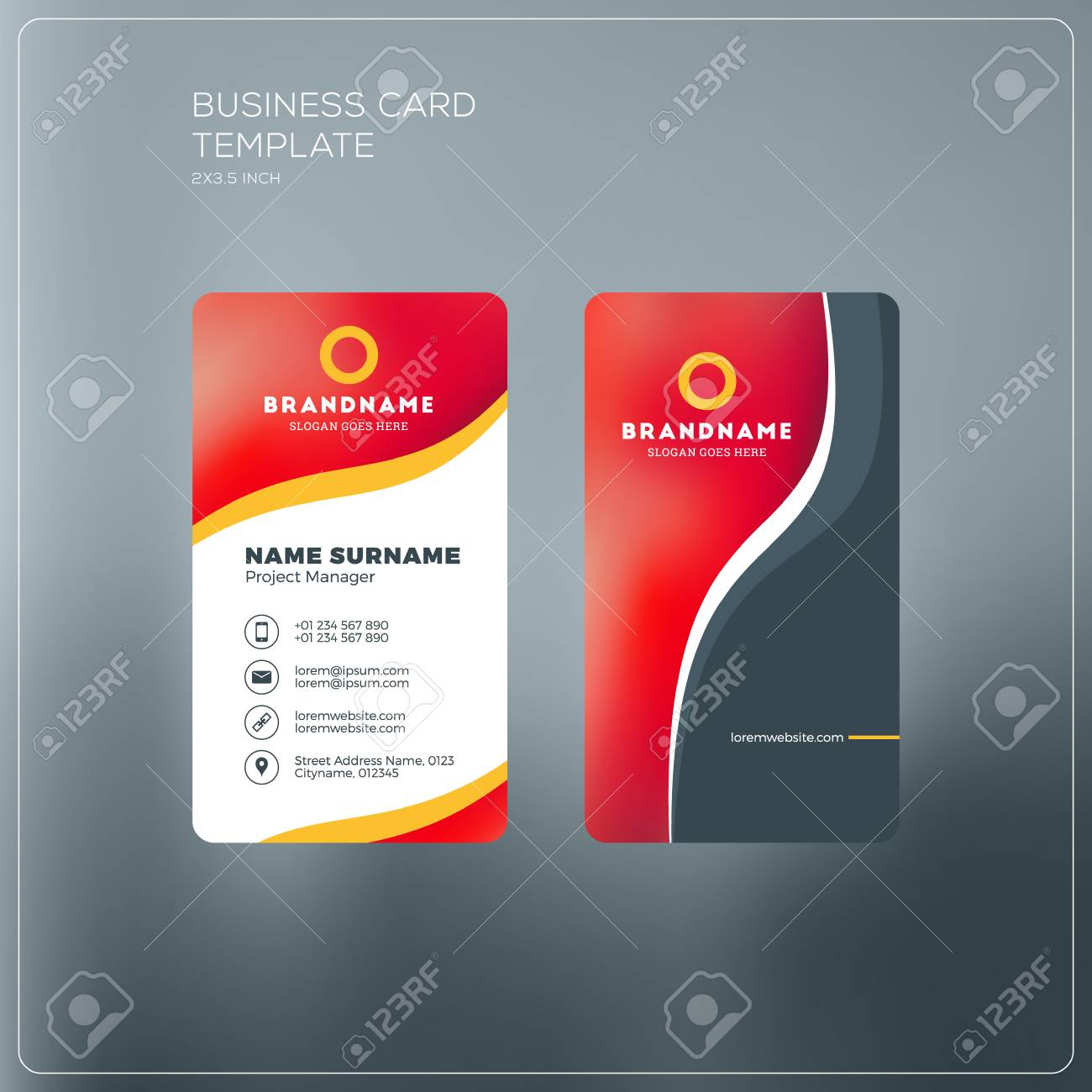 Vertical business card print template personal business card vector vertical business card print template personal business card with company logo black and yellow colors clean flat design vector illustration colourmoves