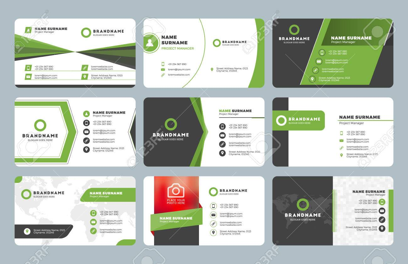 Set of modern business card print templates. Personal visiting card with company logo. Clean flat design. Vector illustration - 59589979