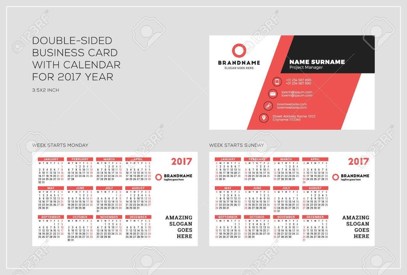 Modele De Carte Visite Recto Verso Avec Le Calendrier Pour 2017