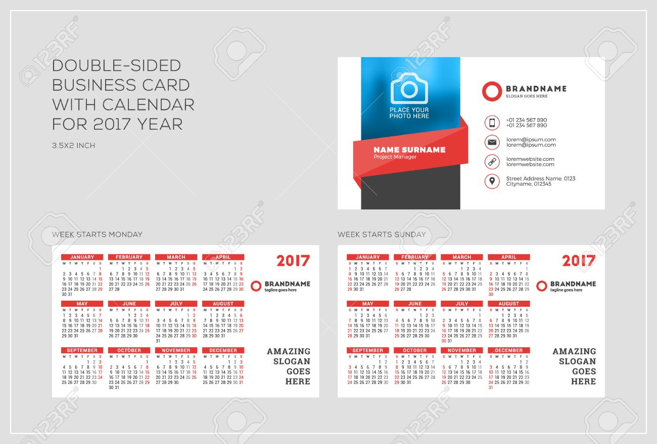 Doublesided Business Card Template With Calendar For Year - Business card calendar template