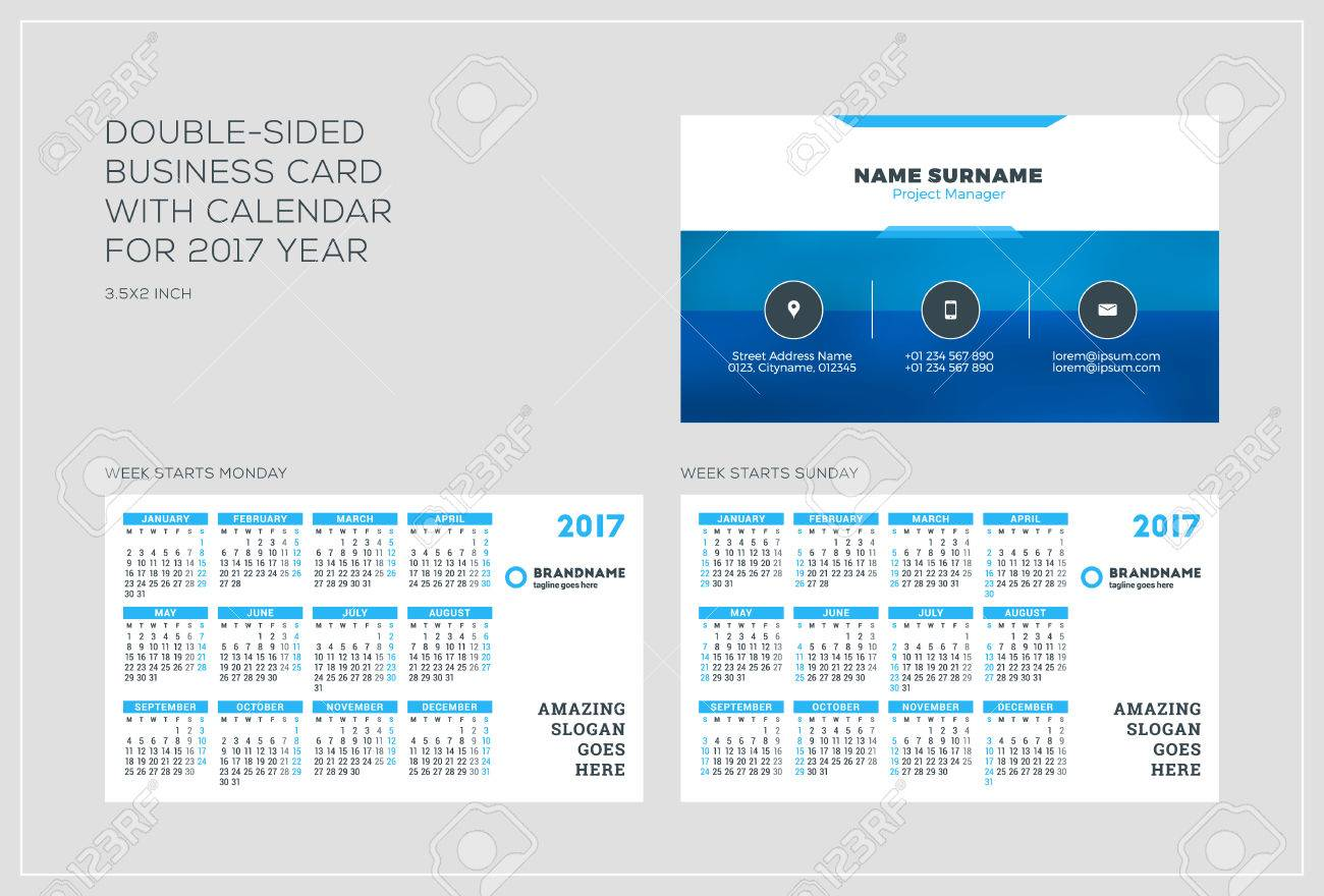Double-sided Business Card Template With Calendar For 2017 Year ...
