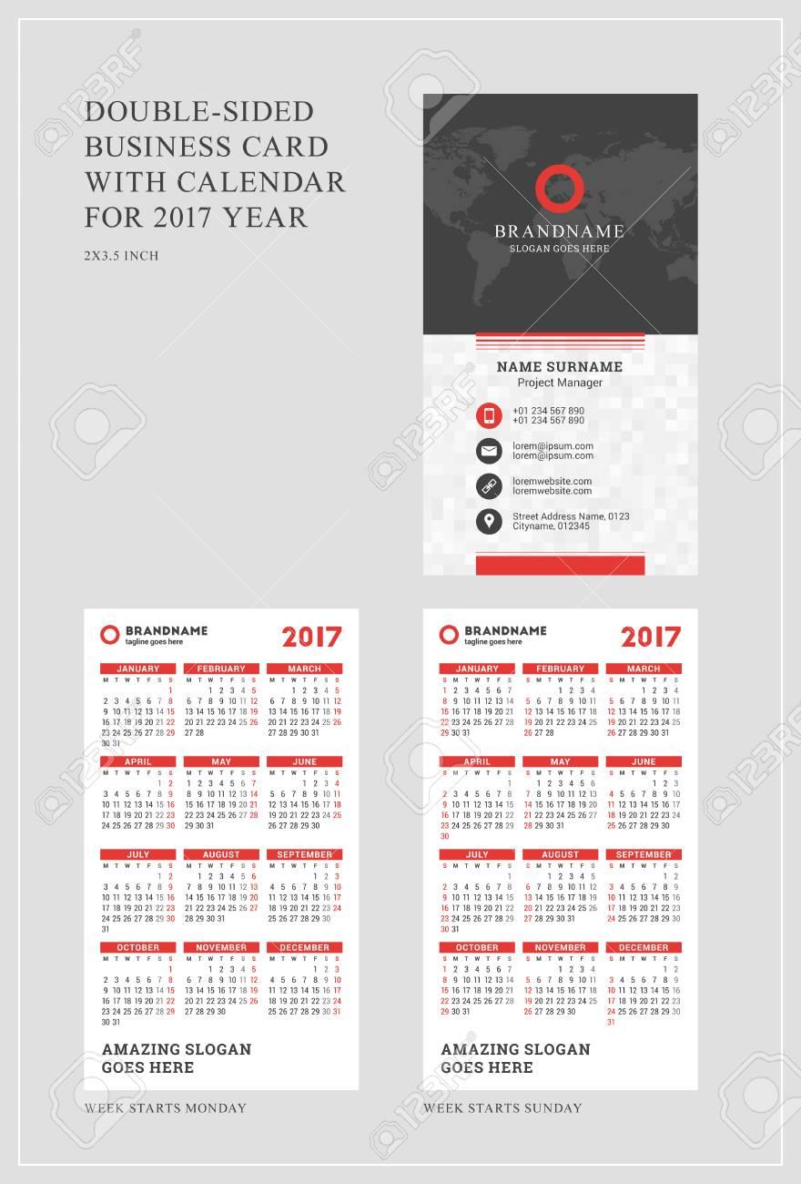 60198203 Modele Vertical Double Face Carte De Visite Avec Le Calendrier Pour 2017 Annee La Semaine Commence Lundi