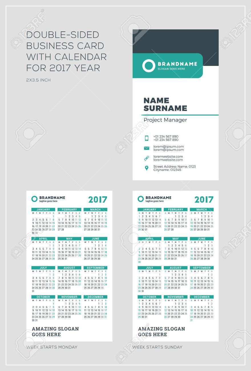 60198207 Modele Vertical Double Face Carte De Visite Avec Le Calendrier Pour 2017 Annee La Semaine Commence Lundi