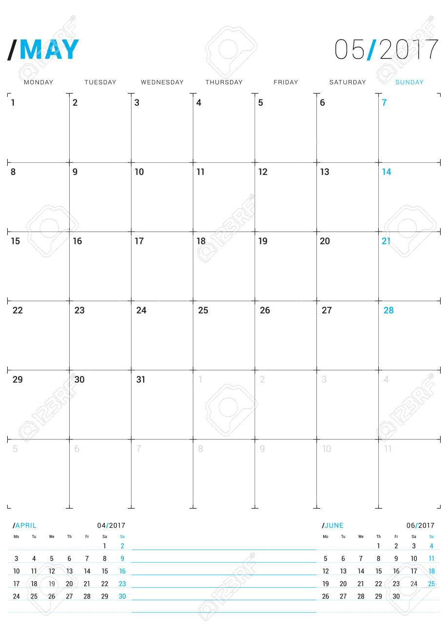 May 2017. Vector Print Template. Monthly Calendar Planner For ...