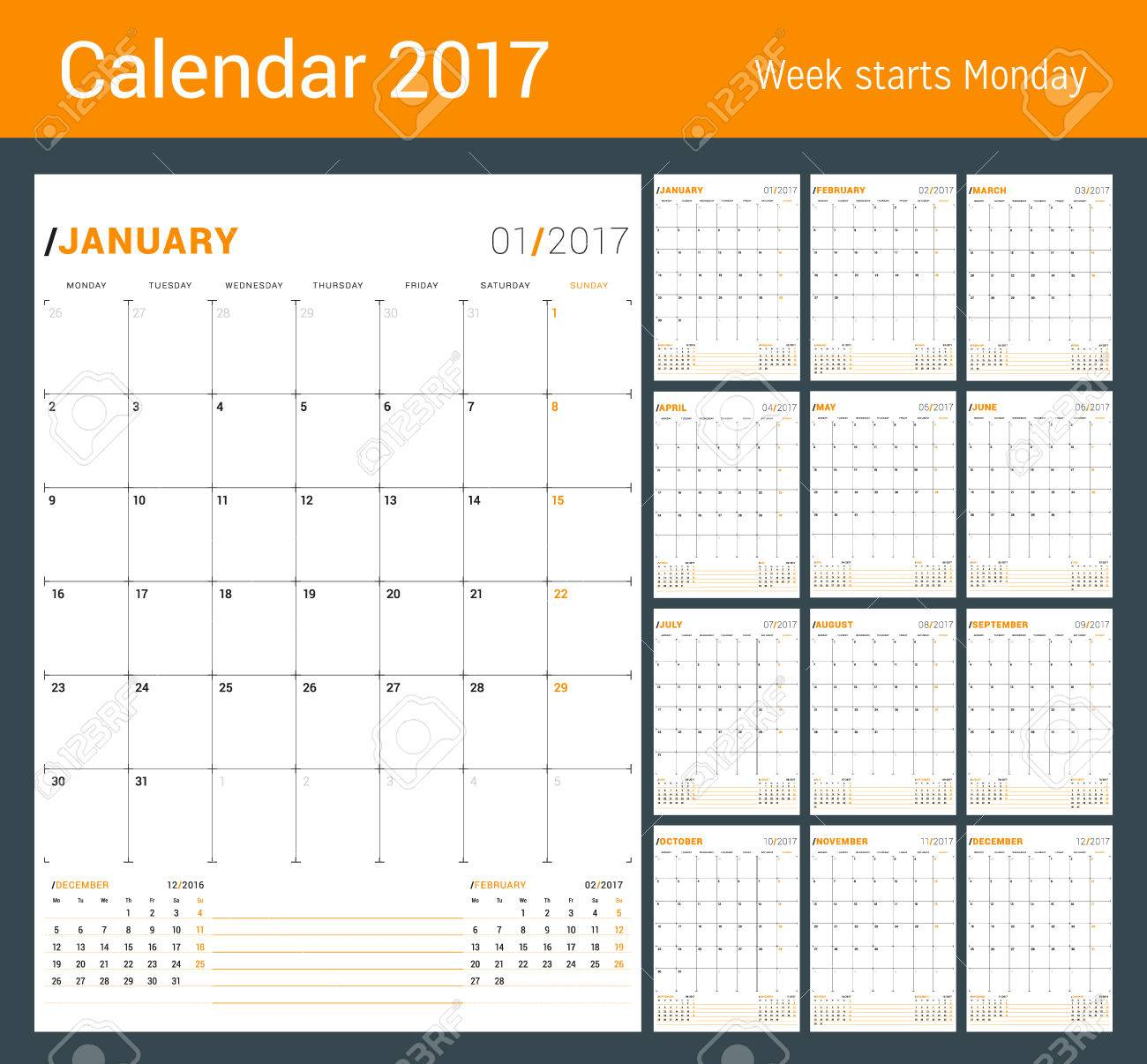vector vector print template monthly calendar planner for 2017 year week starts monday 3 months on the page stationery design
