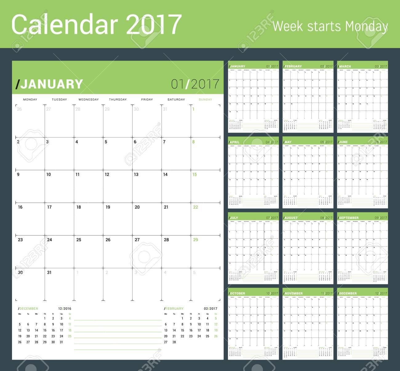 Vector Modele D Impression Calendrier Mensuel Planner Pour 2017 Annee Semaine Commence Lundi 3 Mois Sur La Page Papeterie Conception