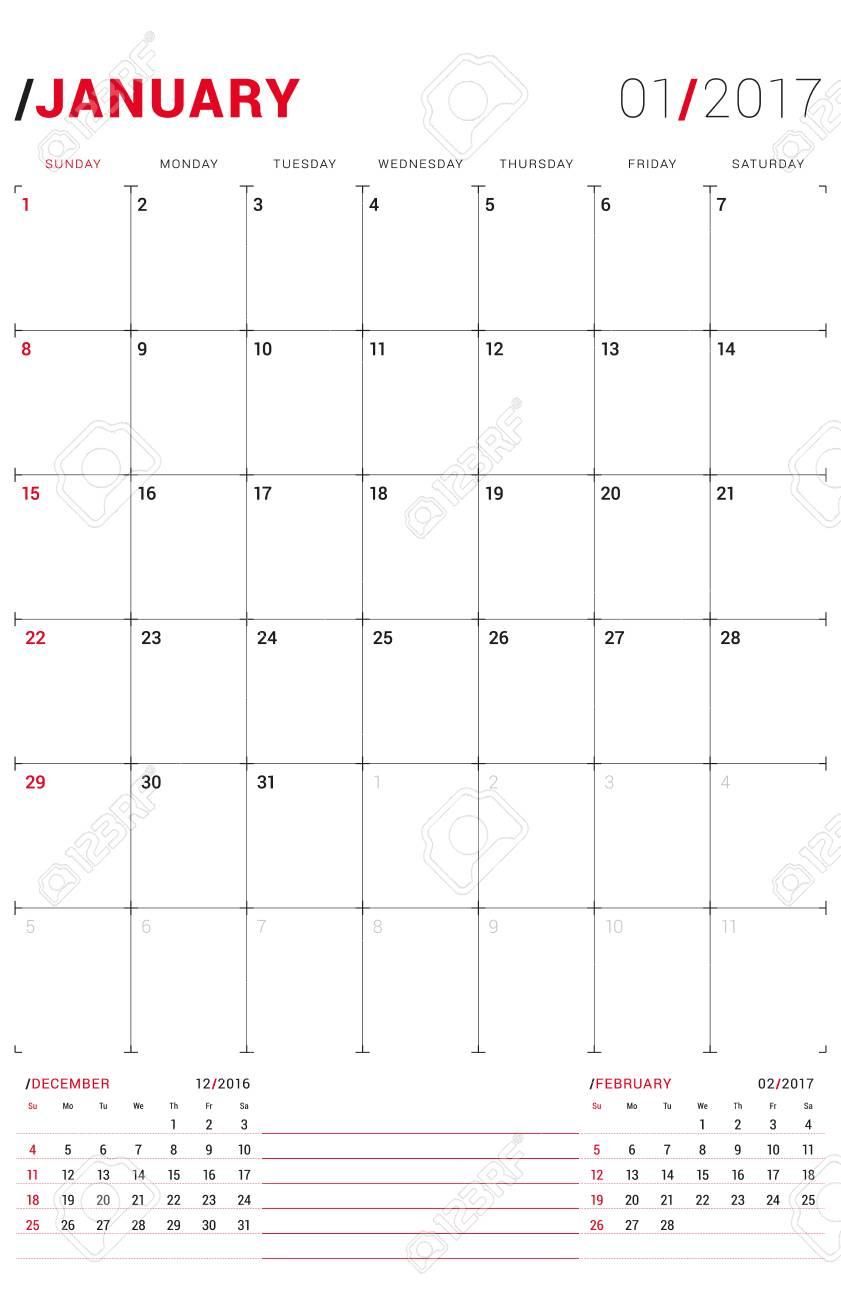 january 2017 vector print template monthly calendar planner