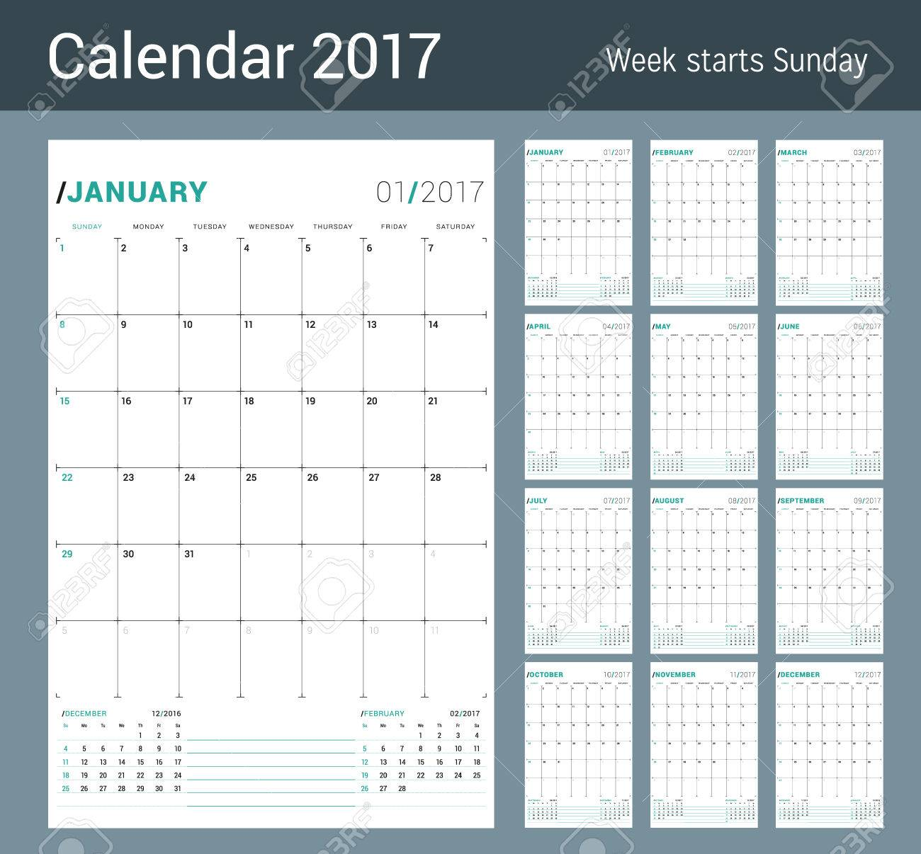 vector vector print template monthly calendar planner for 2017 year week starts sunday 3 months on the page stationery design