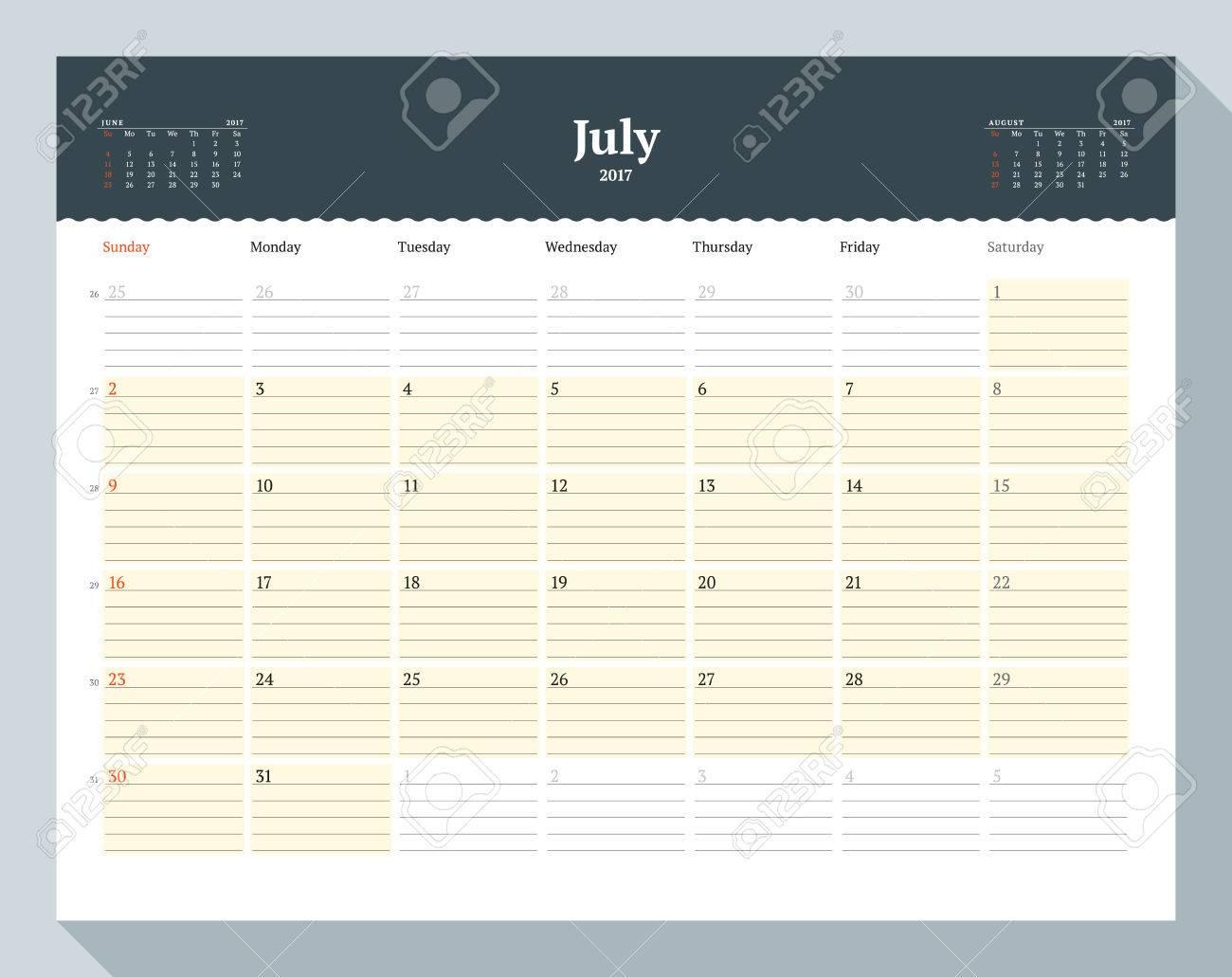 Kalendervorlage Für 2017 Jahr. Juli. Business Planner Vorlage ...