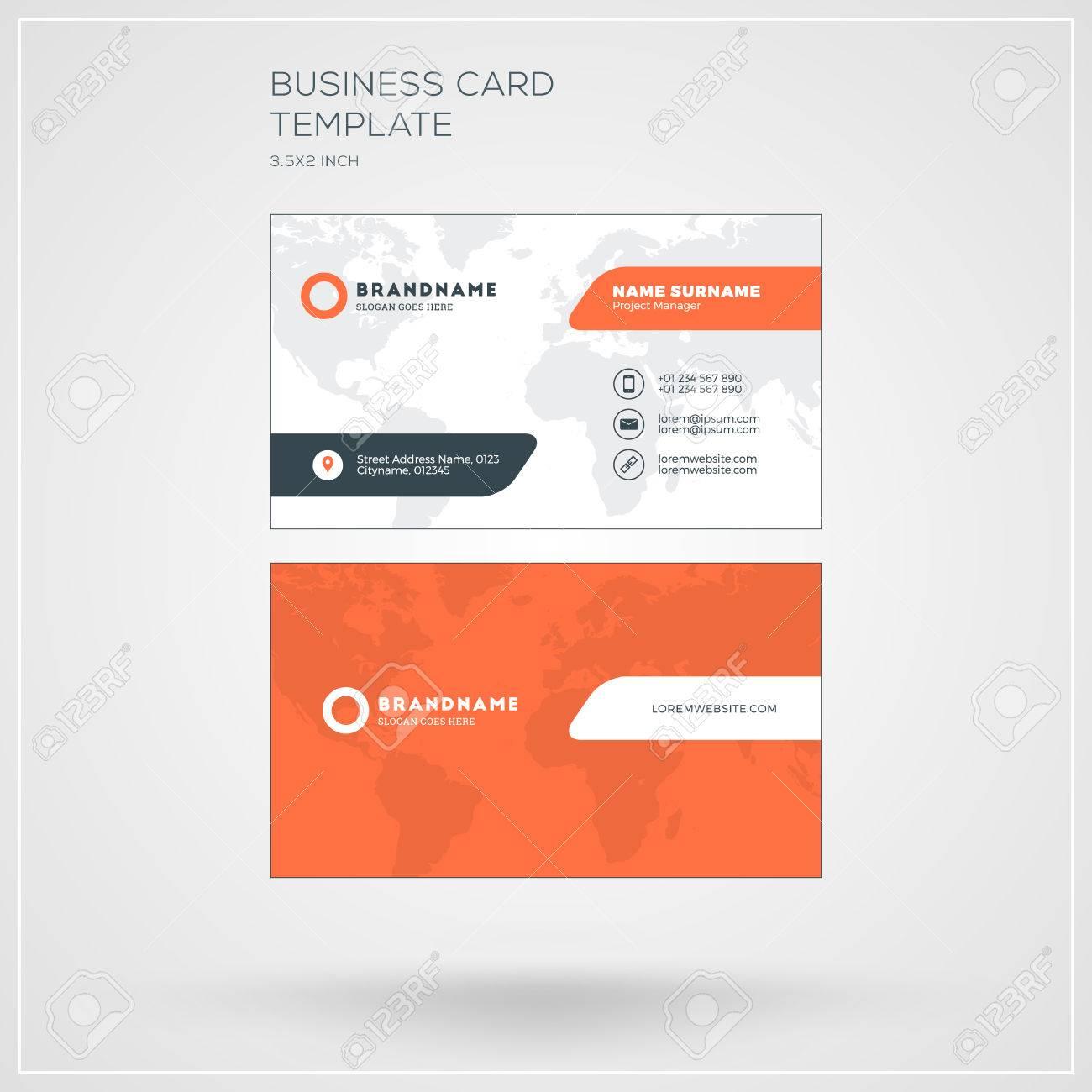 Visitenkarte Druckvorlage Personliche Mit Company Saubere Wohnung Entwurf Vektor Illustration Standard