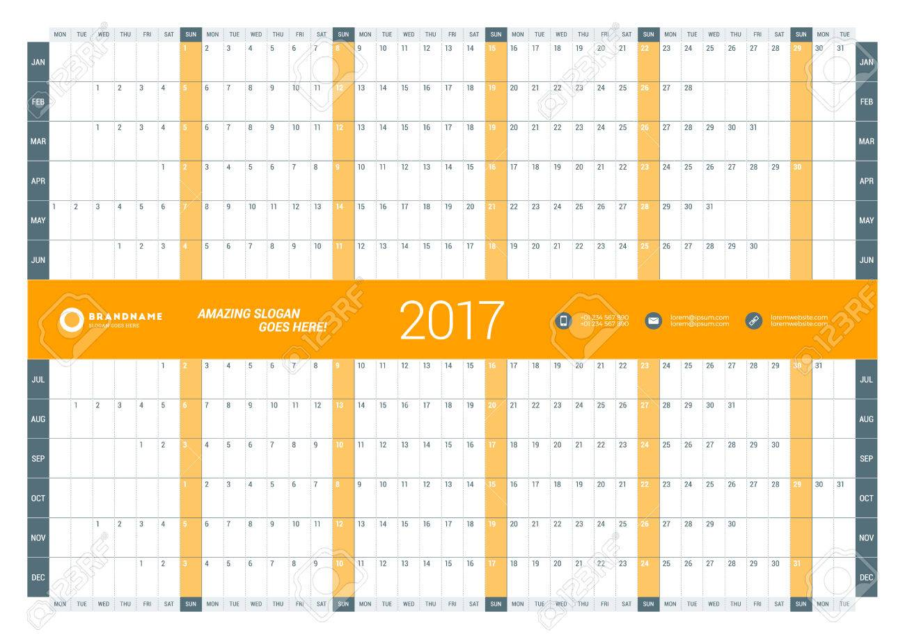Yearly Calendar Planner Template For 2017 Year Vector Design