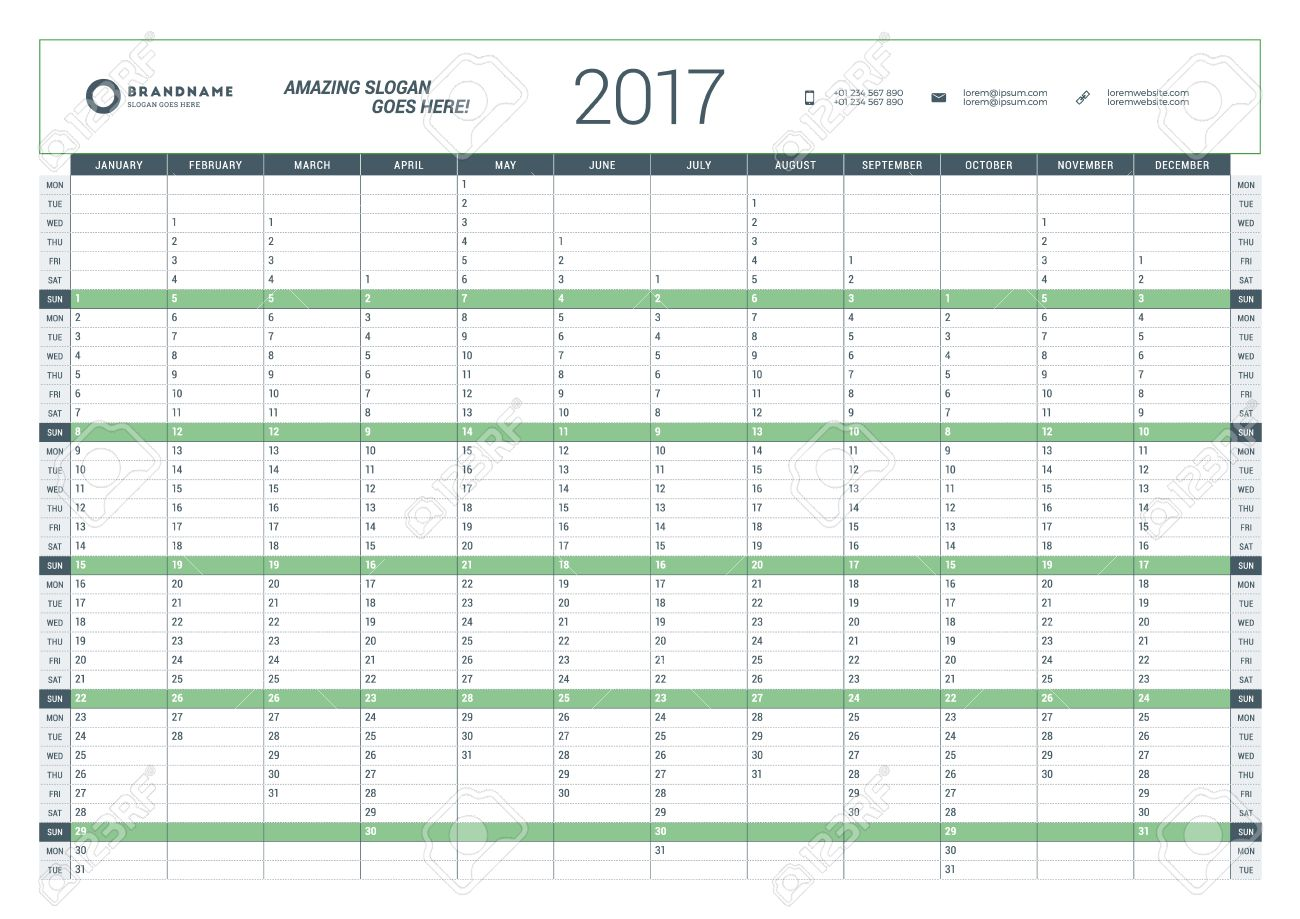 Yearly Calendar Planner Template For 2017 Year. Vector Design ...