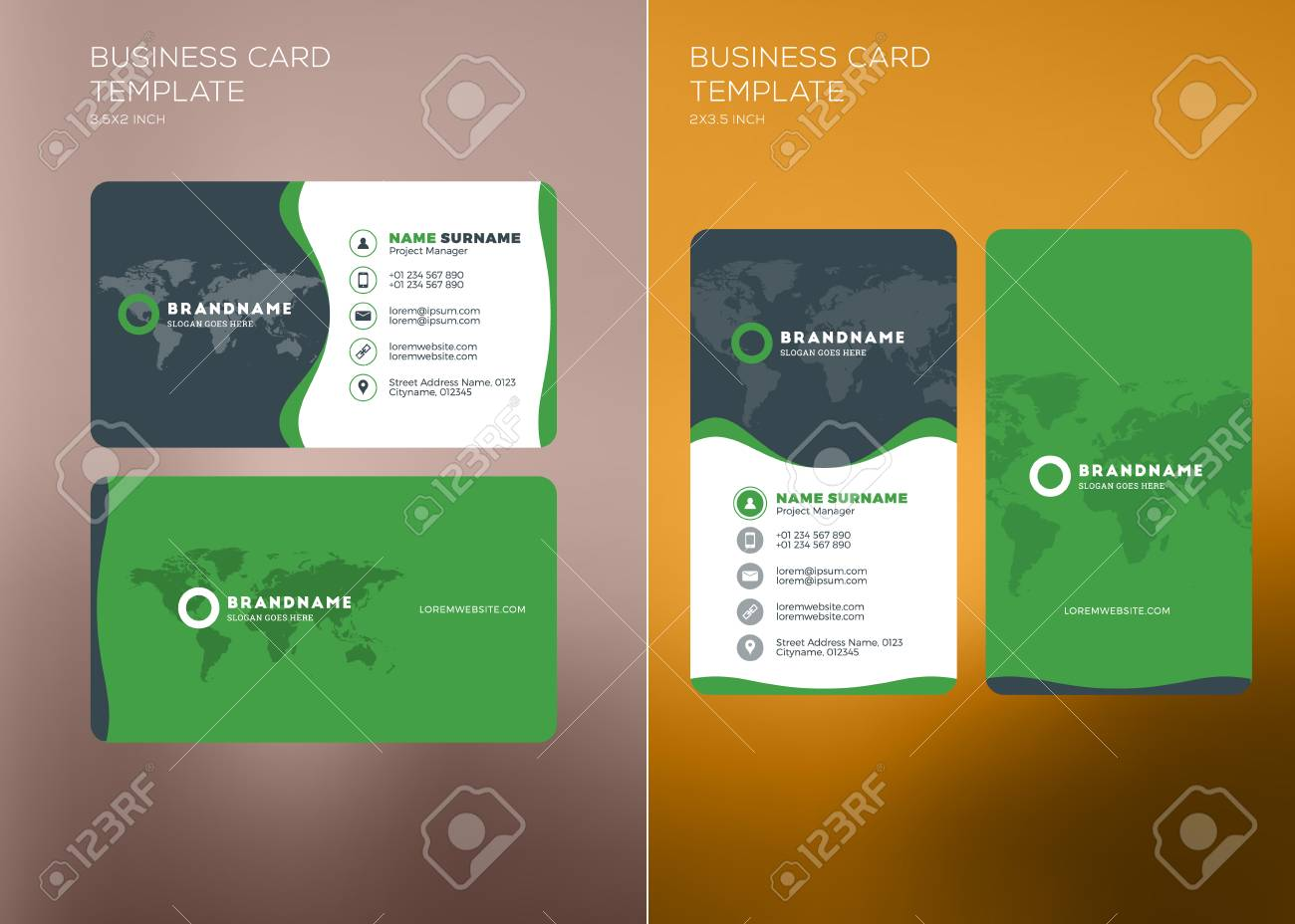 Corporate business card print template personal visiting card corporate business card print template personal visiting card with company logo vertical and horizontal cheaphphosting Image collections