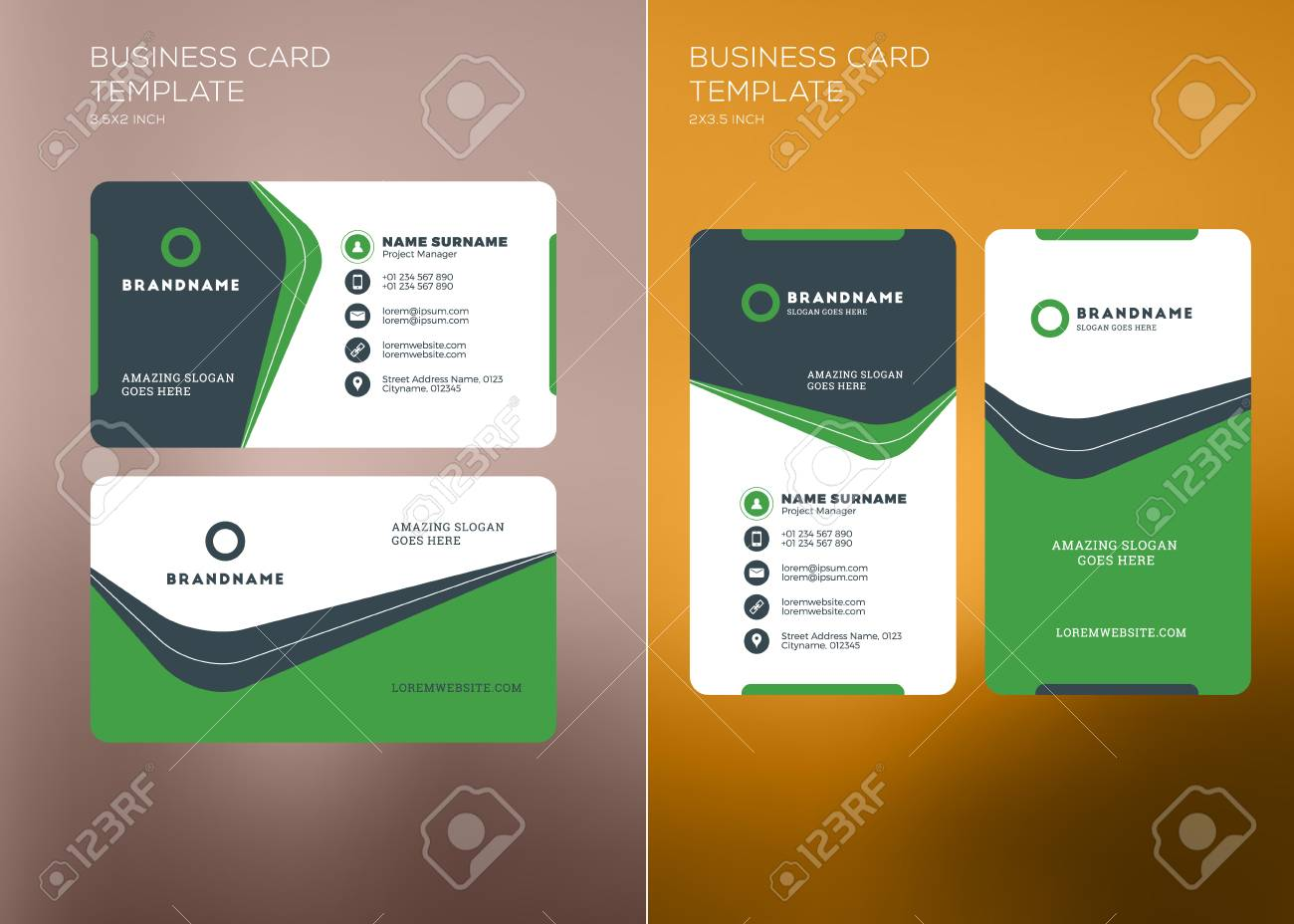 corporate business card print template personal visiting card with company logo vertical and horizontal - Business Card