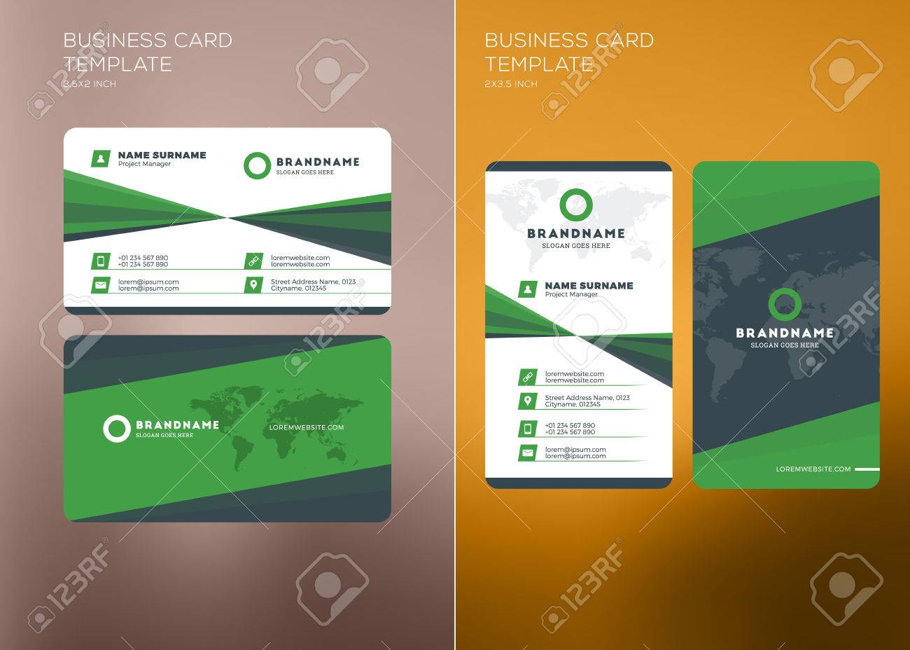 Corporate business card print template personal visiting card corporate business card print template personal visiting card with company logo vertical and horizontal wajeb Images