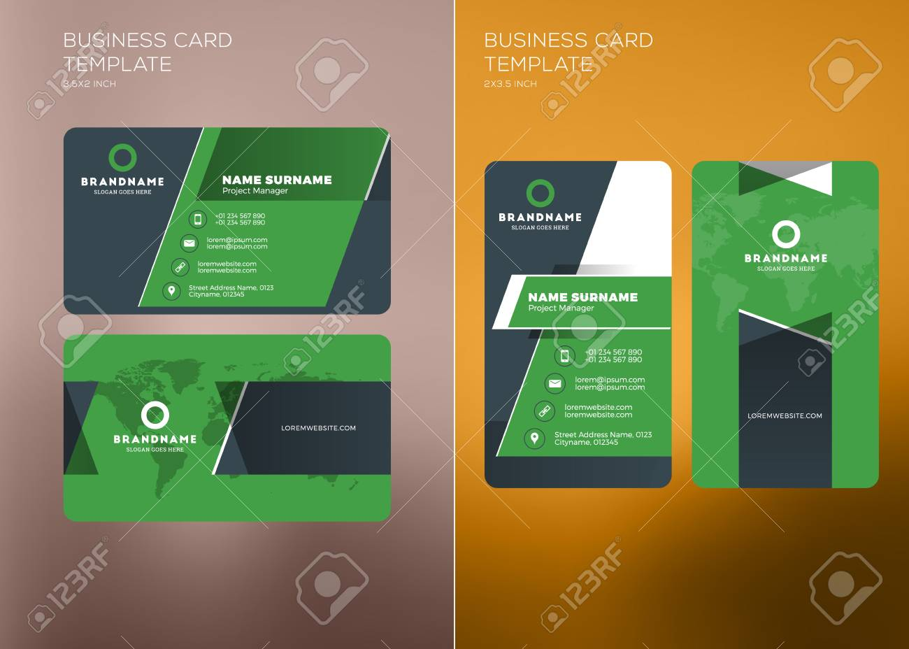 Corporate business card print template personal visiting card corporate business card print template personal visiting card with company logo vertical and horizontal wajeb Choice Image